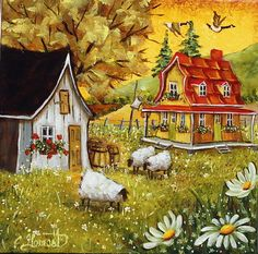Christine Genest - émerveillement Perfect Peace, Easy Canvas Painting, Storybook Cottage, Mini Canvas Art, Paint And Sip, Country Art, Home Art, Puzzles, Fairy Tales