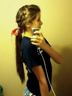 Practice! #cheer #longhair #hairstyles #frenchbraid #ponytail