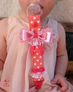 Attache tétine / attache sucette bébé gros noeud et dentelle (rose corail)