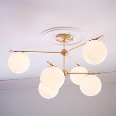 "Modern Brass 6 Light Sphere Globe Chandelier 34""D"