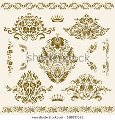 Set of vector damask ornaments. Floral elements, borders, corners for design. Page decoration.