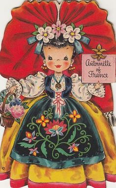 1948 Hallmark Dolls of The Nations 4 Paper Doll Cards Mexico China France Canada…
