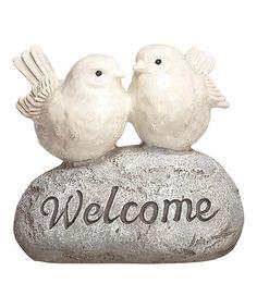Loving this Love Bird 'Welcome' Stone on #zulily! #zulilyfinds