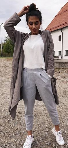 Fall Casual Style Inspiration Long Cardigan Plus White Top Plus Pants Plus Sneakers