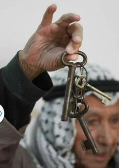 His family home may be bulldozed and land where it once stood, another new (Illegal) Israeli Settlement.... These keys obviously give him and all Palestinians The Right To Return.