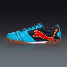 PUMA PowerCat 4.12 Sala - Fluo Blue/New Navy/Orange/Team Yellow Indoor Soccer Shoes || SOCCER.COM