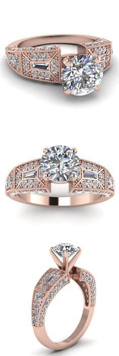 Victorian Vintage Ring || Round Cut Diamond Vintage Ring With White Diamond In 14K White Gold