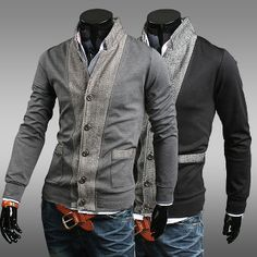 Men's Stand Collar Two Tone Cotton Cardigan