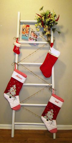 DIY Christmas ladder stocking and card holder.