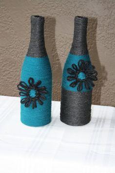 Welcome to my Etsy store. The bottles pictured here are carefully wrapped in twine using average size wine bottles. There is some variance in: