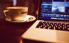 Download wallpapers 4k, Apple MacBook Pro, coffee, modern device, MacBook Pro, laptop, Apple