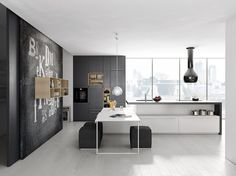 Modern Minimalist Kitchen Design By Comprex: contemporary minimalist kitchen decorating ideas with grey white color scheme and creative wall painting also chrome pendant lights and wooden wall shelving