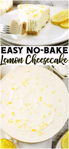 No Bake Lemon Cheesecake is a simple no bake dessert with only a few ingredients! Easy Lemon Cheesecake recipe with bright, fresh lemon flavor in a creamy no-bake cheesecake. from BUTTER WITH A SIDE OF BREAD Lemon Cheesecake Recipes, Easy No Bake Cheesecake, Lemon Dessert Recipes, Lemon Recipes, No Bake Desserts, Easy Desserts, Baking Recipes, Homemade Cheesecake, Classic Cheesecake