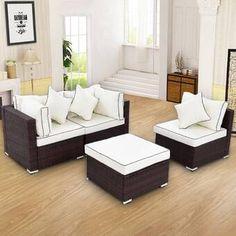 Breakwater Bay Sandburg 4 Piece Rattan Sofa Seating Group with Cushions Wicker Couch, Wicker Headboard, Wicker Bedroom, Wicker Shelf, Wicker Table, Rattan Sofa, Wicker Furniture, Repurposed Furniture, Cushions On Sofa