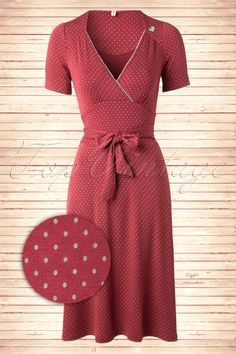 40s Glazy Glade Little Dots Dress in Maroon