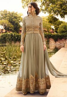 Embroidered Net Front Slit Abaya Style Suit in Beige