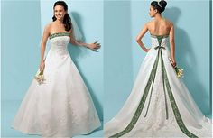 WEDDING DRESS WITH GREEN SASHE | White and green wedding dresses give the white as the dominant color ...