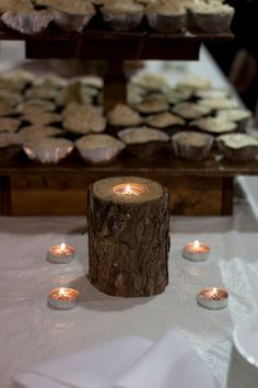 Wood Tea Light Candle Holder on Etsy, $10.00   Perfect accent piece or centerpiece for special occasions such as a wedding, a baby shower, a birthday party, or even just for home decor. This image was taken from our own wedding. It gave a perfect ambiance to our wedding reception.
