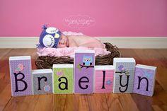 Personalized Wood Blocks - M2M Custom Owl Bird bedding - Baby Room Decor Custom Name Letters - Baby Letter Blocks via Etsy