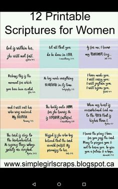 Bible Verses About Faith:Simple Girl Scraps: 12 Printable Scriptures for Women Scripture Cards, Bible Verses Quotes, Bible Scriptures, Bible Quotes For Women, Wisdom Quotes, Tattoo Scripture, Happy Scripture, Bible Verses For Girls, Uplifting Scripture