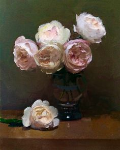 Painting Still Life, Still Life Art, Rose Oil Painting, David Austin Roses, Realistic Paintings, Abstract Painters, Painting Inspiration, Flower Art, Peonies