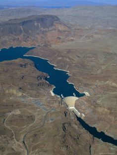 The Hoover Dam and Lake Mead from the Air, Nevada, USA. (Near top of my list of places to visit. -BtD)