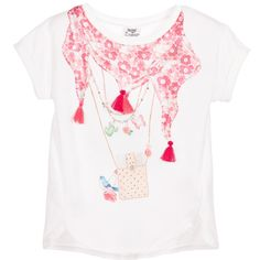 Girls ivory t-shirt by Mayoral Chic. The front of this pretty top is in a silky soft fabric with a red scarf print, embellished with sparkling silver beads and tassel threads. The back is made from stretch jersey. It has cap sleeves, a stretch rib round neck and scalloped hem.