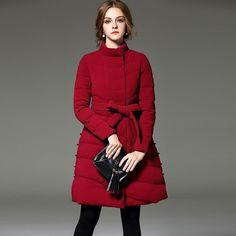 Women's Vintage Burgundy Duck Down Jacket