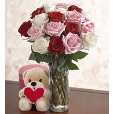 When You Fall In Love, The Only Thing That You Need To Keep On Going Is To Look Into The Eyes Of The Person You Love And To See Yourself Reflected On Them. In This Valentine'S Day, Remind Her How Important She Is For You And Surprise Her With This Beautiful Arrangement Of Roses Along With A Tender Teddy Bear. Premium Roses In White, Red, And Pink Colors, Arranged In Delicate Glass Vase, With A Romantic Teddy Bear. Approximately 60 X 55 Cm. Teddy Bear Online, Buy Teddy Bear, Chocolate Hampers, Chocolate Box, Animal Delivery, 12 Roses, Cute Stuffed Animals, Balloon Bouquet, Pink Color