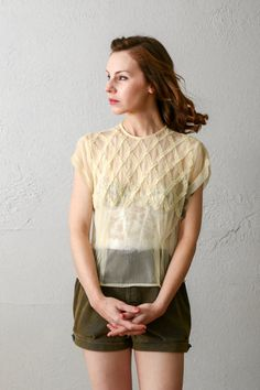 Sheer Yellow Ruffle Blouse by VeraVague