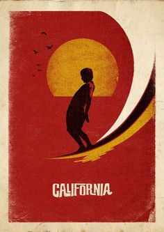 California. Vintage surf poster