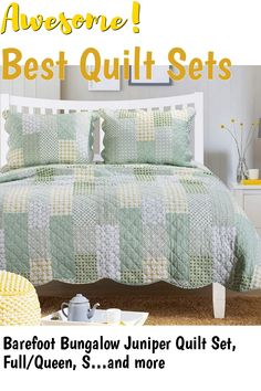 Barefoot Bungalow Juniper Quilt Set, Full/Queen, Sage #quiltsets