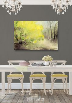 A grey, white and pastel yellow chic modern vintage dining room featuring a yellow forsythia Central Park landscape large canvas print by artist Beverly Brown. Available in multiple sizes & framing options. Beautiful Landscape Paintings, Watercolor Landscape Paintings, Landscape Artwork, Landscape Pictures, Watercolor Painting, Spring Landscape, Park Landscape, Yellow Dining Room, Artwork For Home