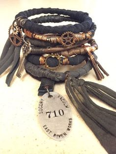 Steampunk Gypsy Bangle Stack! Post Apocalyptic Wire Wrap Bracelets with Vintage Charms Made to Order