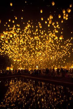 Lanterns, Reflected, Thailand