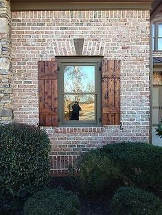 -Stained Brick Craftsman Style Shutters Exterior Craftsman … Stained Brick Craftsman Style Shutters Exterior Craftsman … See it Window Shutters Exterior, Cedar Shutters, House Paint Exterior, Exterior Siding, Exterior House Colors, Exterior Design, Craftsman Exterior, Stained Brick Exterior, Farmhouse Shutters