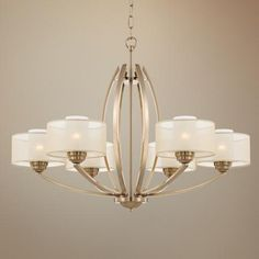 "Possini Euro Alecia 34"" Wide Satin Brass Chandelier - #V8317 