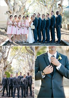 Classic groom and groomsmen looks with darling pink bridesmaids.