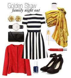 Golden Straw: Family Night Out by myheartcreative on Polyvore featuring Valentino, Yves Saint Laurent, Daniel Wellington, Henri Bendel, Clinique and Essie