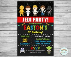 Star Wars Invitation, Personalized, Star Wars Birthday Invitation, Custom Invite, Digital, Printable, Chalkboard, Star Wars Party, Boy, Girl by Lollipop Party Supplies