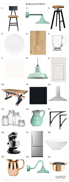 industrial mint interior product roundup, mint green, seafoam green, robin's egg blue, sherwin williams kind green, hickory wood, industrial style stools, copper accents, black accents, creamy white, interior styling ideas