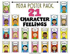 ELA Character Feelings Mega Poster Pack for Kindergarten and First Grade  $