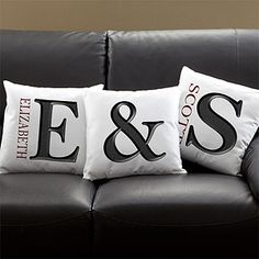 "These Monogram Pillows are gorgeous! Love the ""&"" and that they come in 5 different colors! Such a cute idea for newlyweds or new homeowners ... but what do you think looks better: personalizing the pillow with your first or last name? #home #letter #pillow #PMall.com"