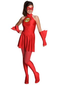This girls Flash costume is a great female version of the Flash from the comic books for children. Get this girls Flash costume to complete your superhero group costume. Flash Costume For Girls, Flash Halloween Costume, Costumes For Teens, Halloween Costumes For Girls, Girl Costumes, Costume Ideas, Cosplay Costumes, Superhero Costumes Female, Wonder Woman