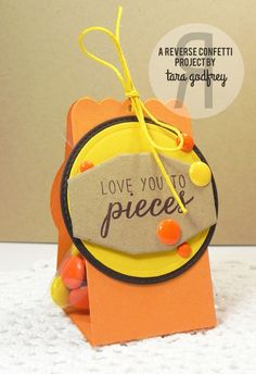 Sweet Treat packages by by Tara Godfrey. Reverse Confetti stamp set: Sugary Sweet Sentiments. Confetti Cuts: Circles 'n Scallops, Envie Wrap, and Label Me. Valentine's Day.