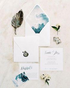 shade of blue watercolor spring wedding invitations/ rustic chic spring wedding invitations