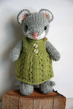 Little Knitted Mouse Girl with Woolen Dress