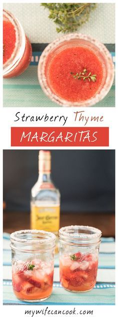 These homemade frozen strawberry thyme margaritas are perfect for strawberry season and a great cocktail if you like tequila. If tequila's not your thing then you can always sub in something else or just enjoy a virgin version. Our kids are drawn in by the strawberries and the bright red color and so we often make too batches: the kid version and the grown-up alcoholic version. We make these with our own strawberry thyme simple syrup that is super easy to make and acts as a sweetener.