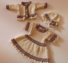 PDF Knitting Pattern Baby Dress, cardigan and Hat Vintage style 'Victoria' to fit premature baby through to 2 years old. DK