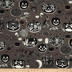 Haunted House Crafty Calaveras Smoke from @fabricdotcom  Designed by The DeLeon Design Group for Alexander Henry, this cotton print is perfect for quilting, apparel and home decor accents.  Colors include off white, grey and black.